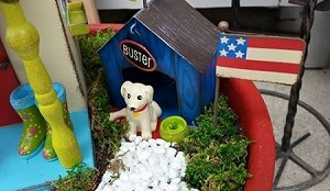 American Flag on Post - Fairy Garden