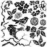 Iron Orchid Designs Birds Branches and Blossoms Decor Stamp (12x12)