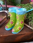 Rain Boots (lime green with blue trim)- Fairy Garden