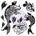 Iron Orchid Designs Koi and Peony Decor Stamps