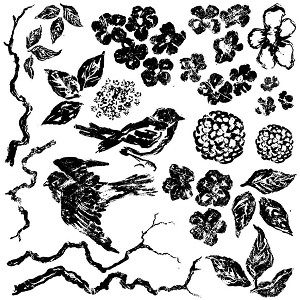 Birds Branches and Blossoms Decor Stamp (12x12)