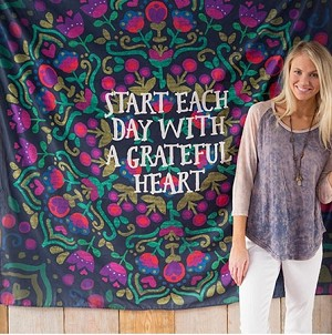 """Start each day with a grateful heart."" Tapestry 60"" x 60"""